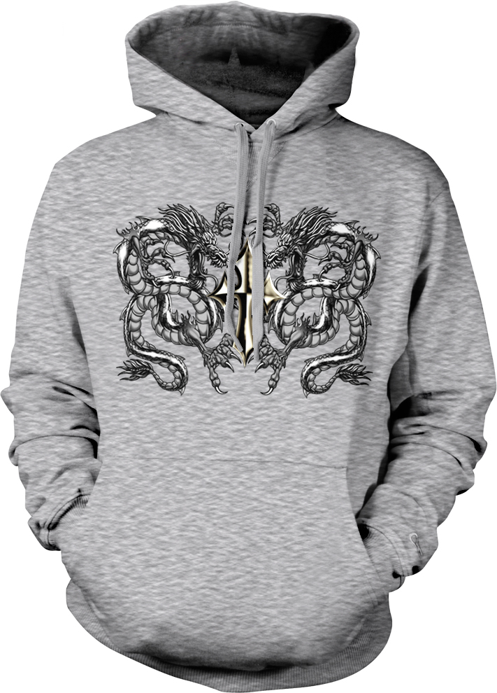 Gothic Cross 2 Dragons Death Midevil Ancient Symbols Hoodie Pullover