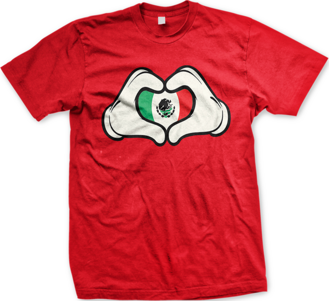 mexican flag cartoon hands heart mexico brown pride mens t shirt