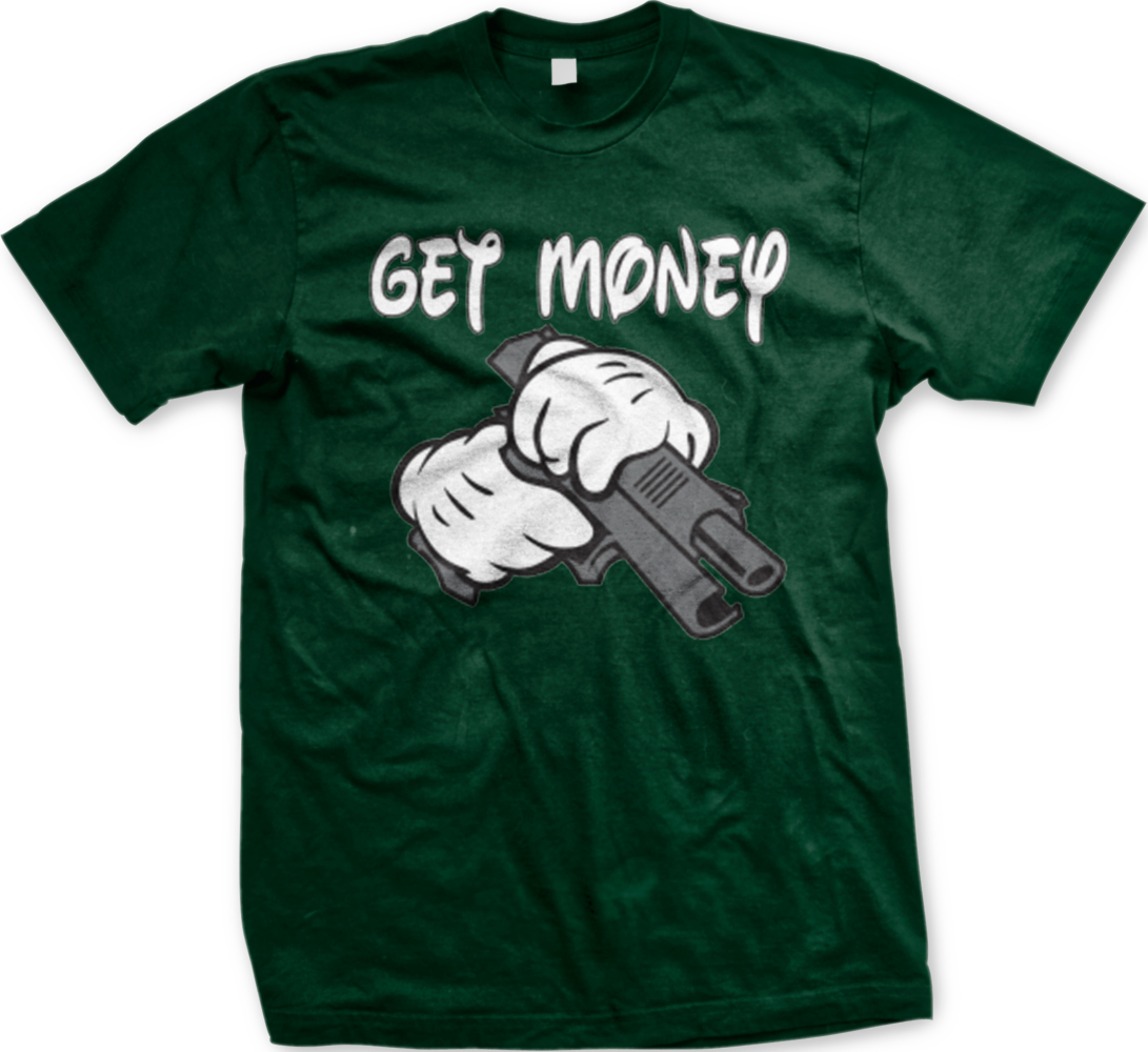 Get Money Cartoon Hands Pistol Gangster Gun Funny Hoodie Pullover