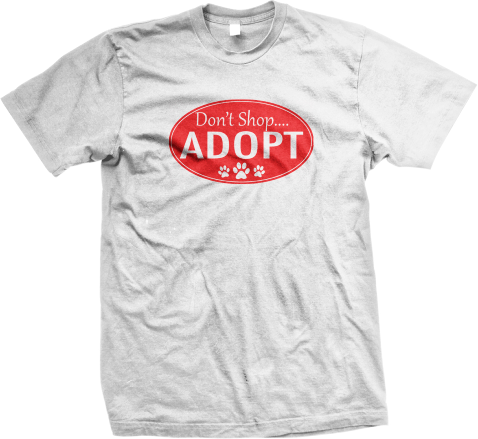 Don 39 t shop adopt paw prints shelter rescue adopt pet mens for Shop mens t shirts