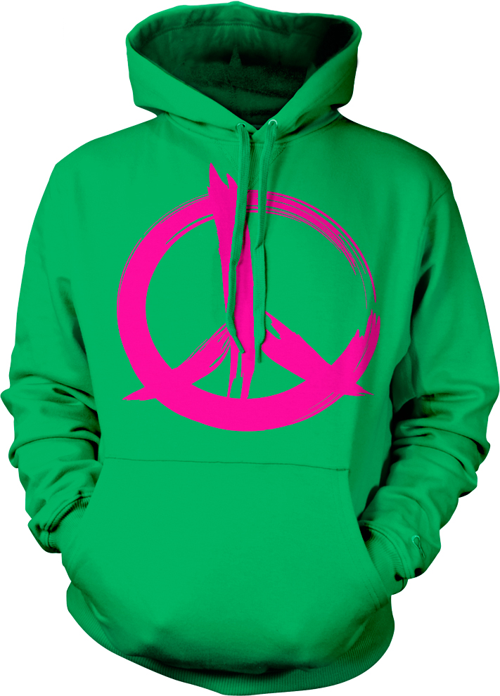 Peace France French Paris Pax Hot Pink Anti-War Hoodie Pullover