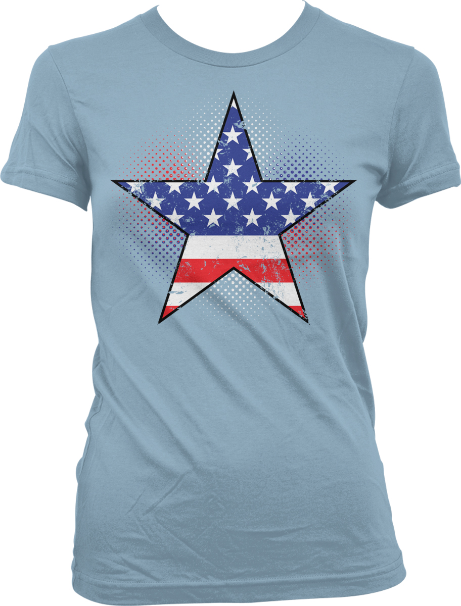 American flag star usa america red white and blue juniors for Red and blue t shirt
