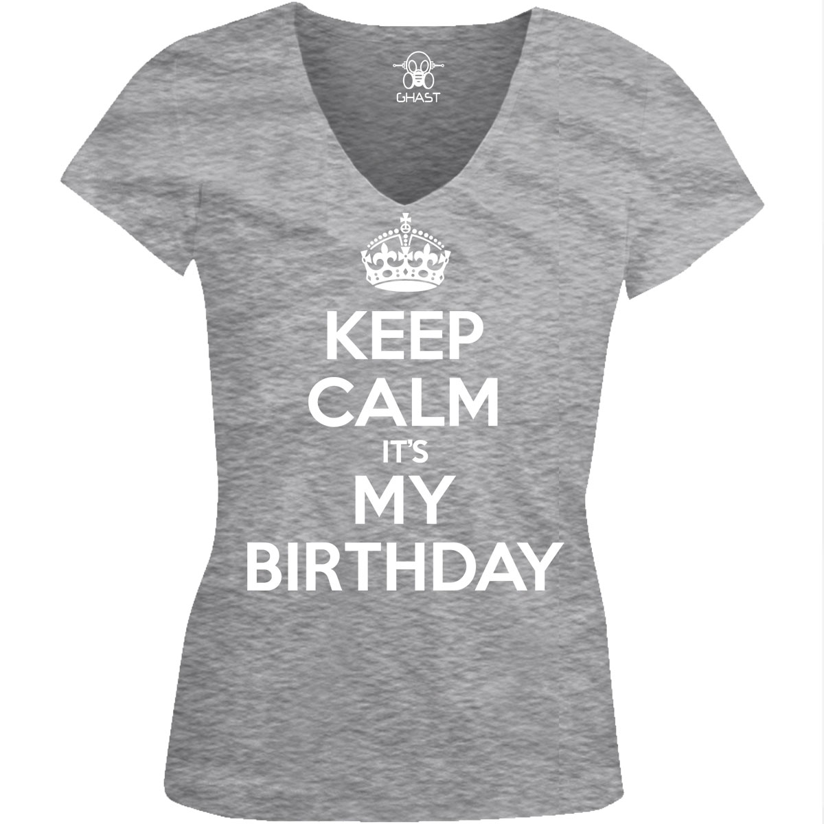 Keep Calm It's My Birthday Funny Party Juniors V-neck T ...
